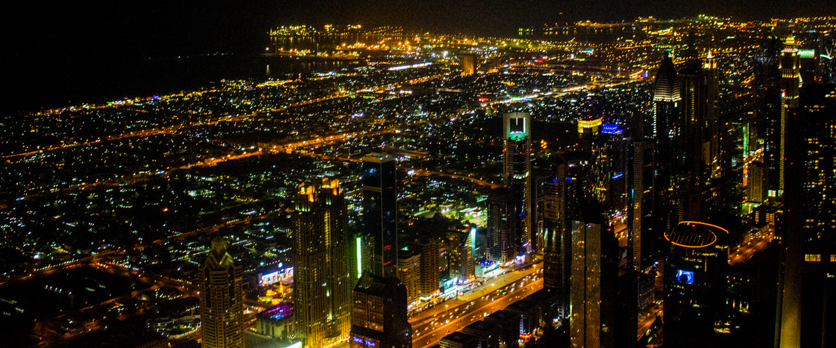 A photo at night taken from the Burj Khalifa