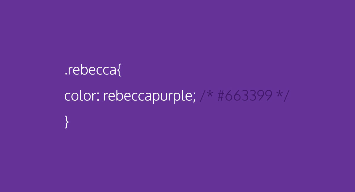A picture of a piece of CSS representing the new code color rebeccapurple