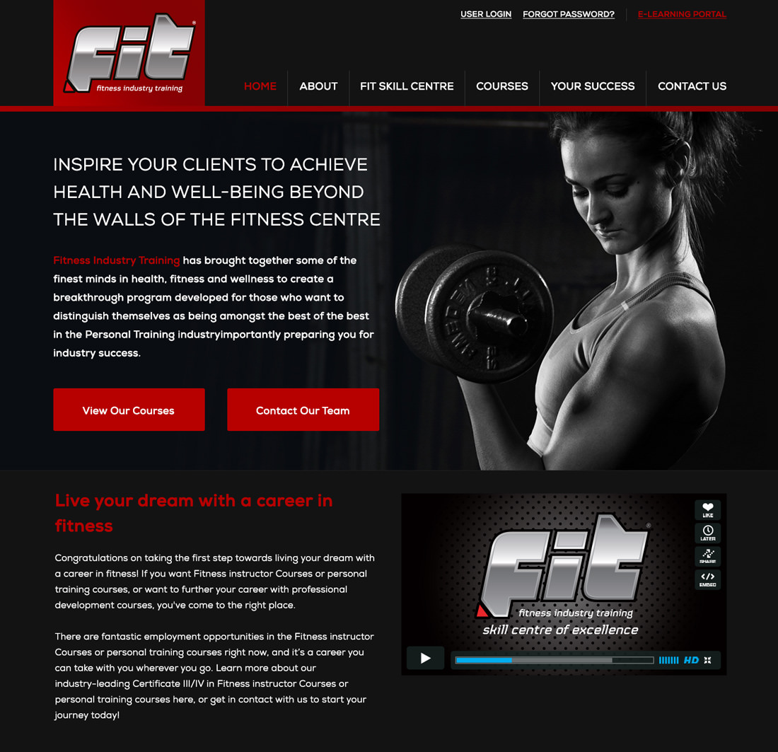 A design mockup of the Fitness Industry Training Website