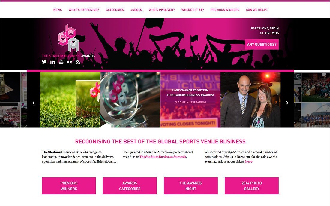 A screenshot of the new layout for TheStadiumBusiness Awards