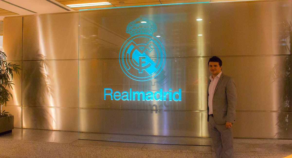 A picture of Glen at the Real Madrid FC reception area