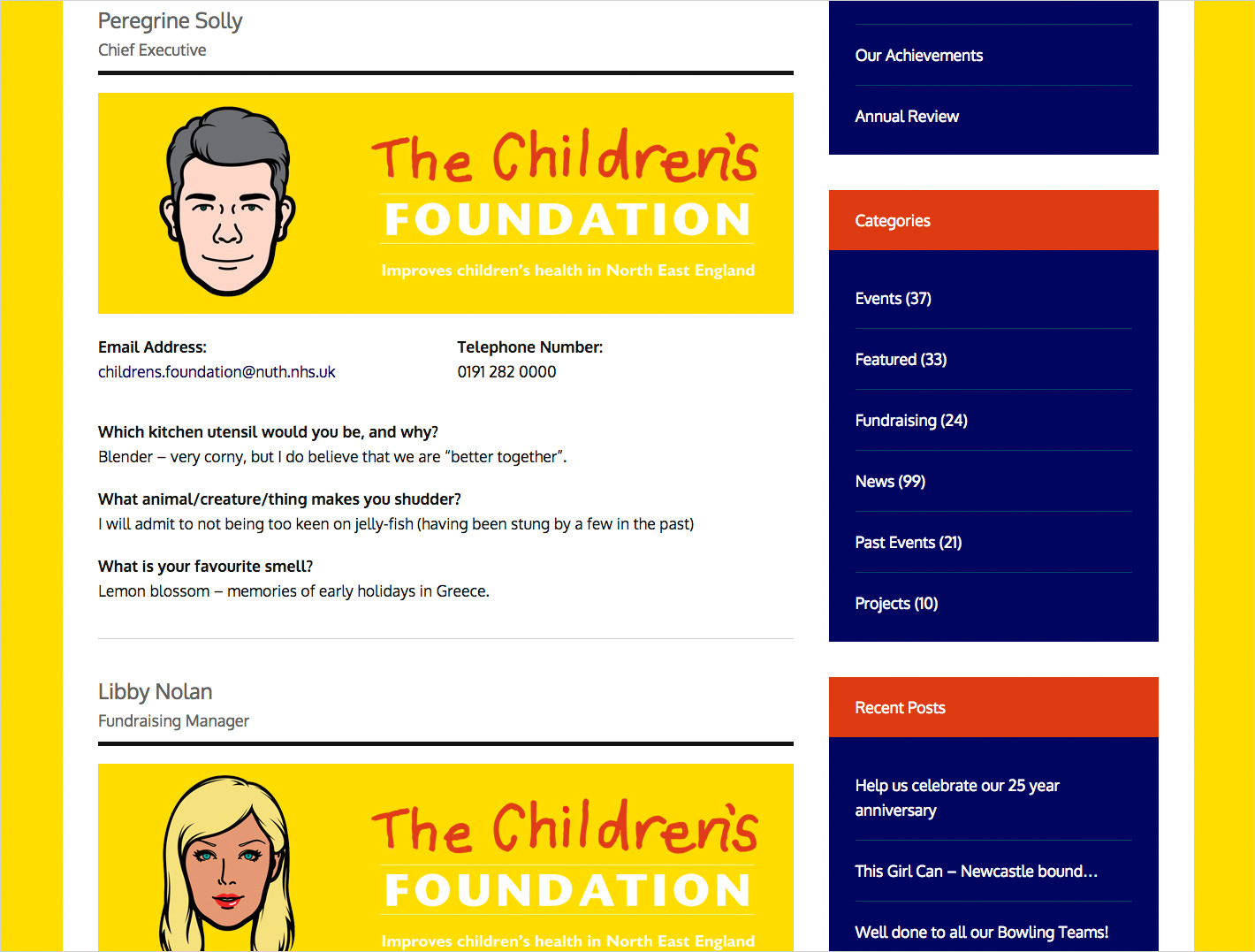 A screenshot showing The Children's Foundation staff page