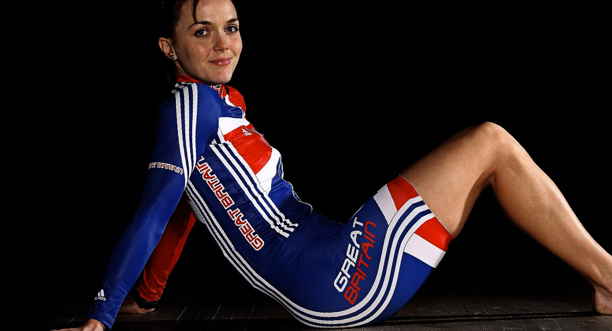 A picture of Victoria Pendleton in Great Britan cycling uniform