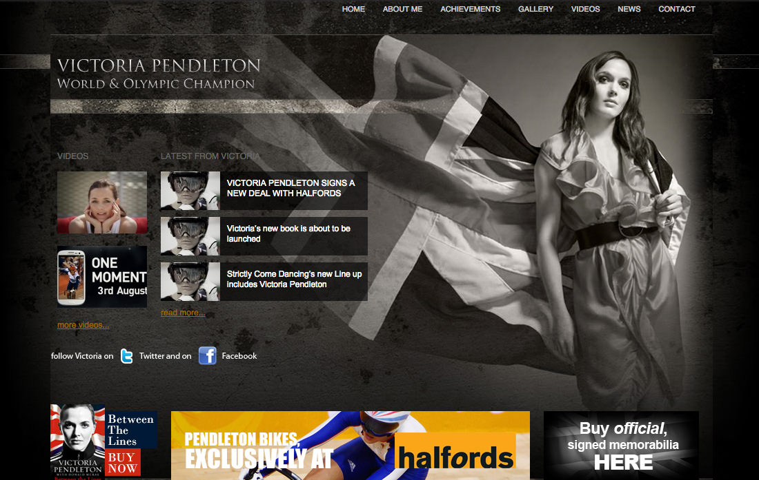 A screenshot of the Victoria Pendleton website page