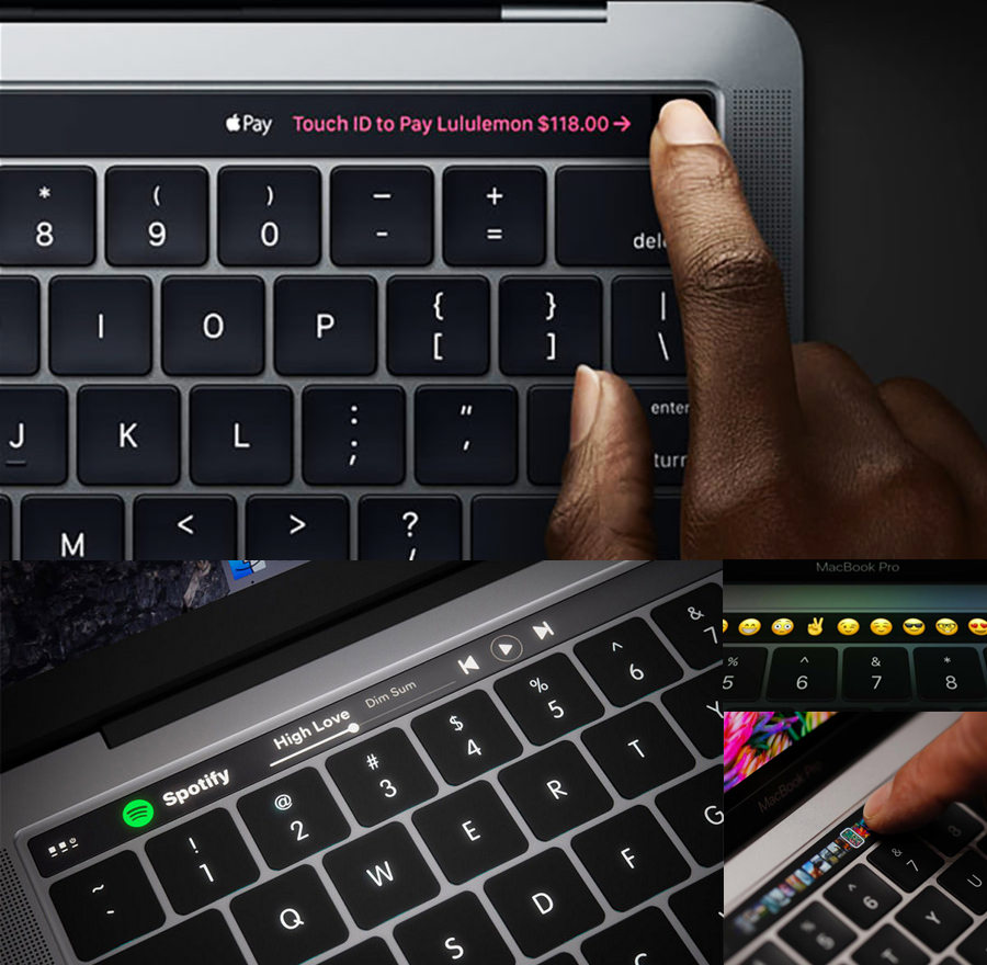 A photo showing different uses of the Touch Bar. Spotify, Touch ID etc